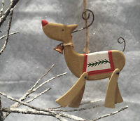 Wooden Reindeer Christmas Tree Decorations Gisela Graham Nordic Wood Rustic
