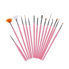 15Pcs Nail Art Design Dotting Brush Painting Pen Tool Set Pink Stick Brushes