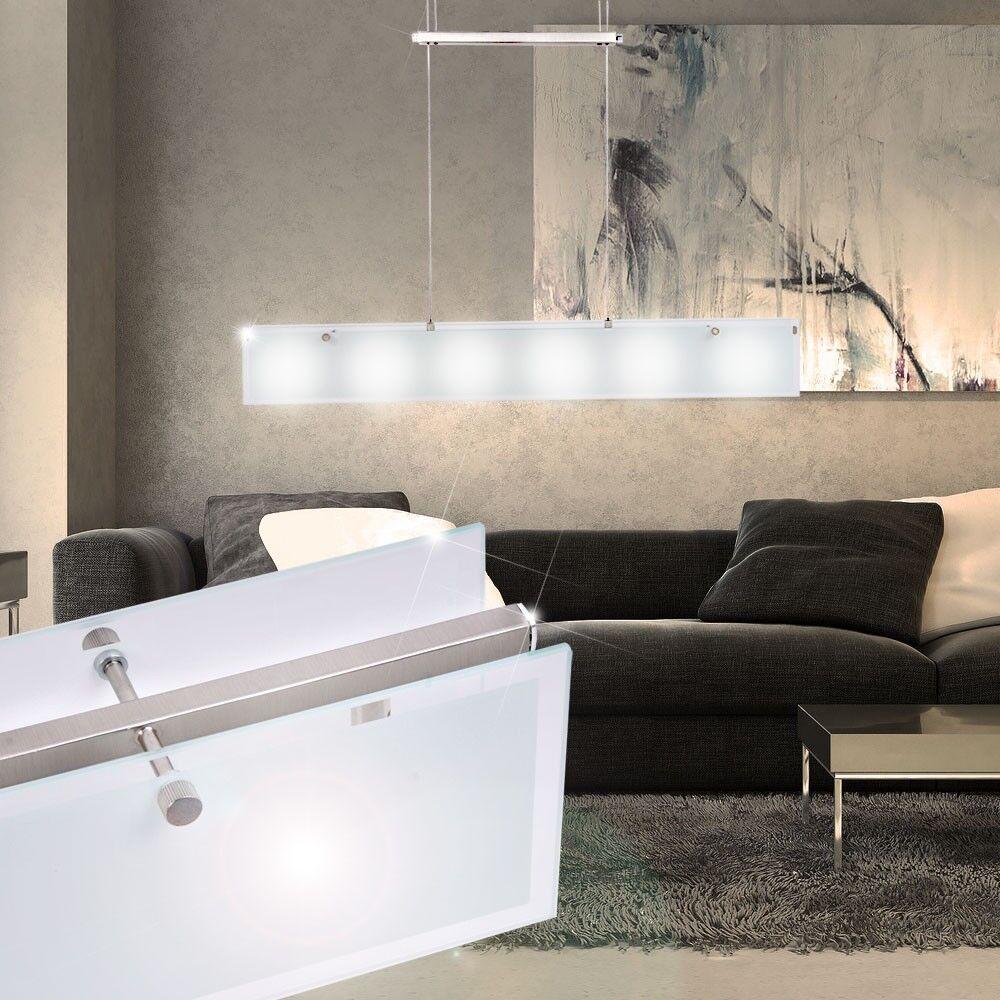 Elegante Pendel Lampe Glas Balken Hänge Leuchte Wohnzimmer Beleuchtung Büro Flur