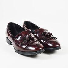 Tod's Deep Red Black Glossy Leather Fringe Tassel Low Heel Loafers SZ 38.5