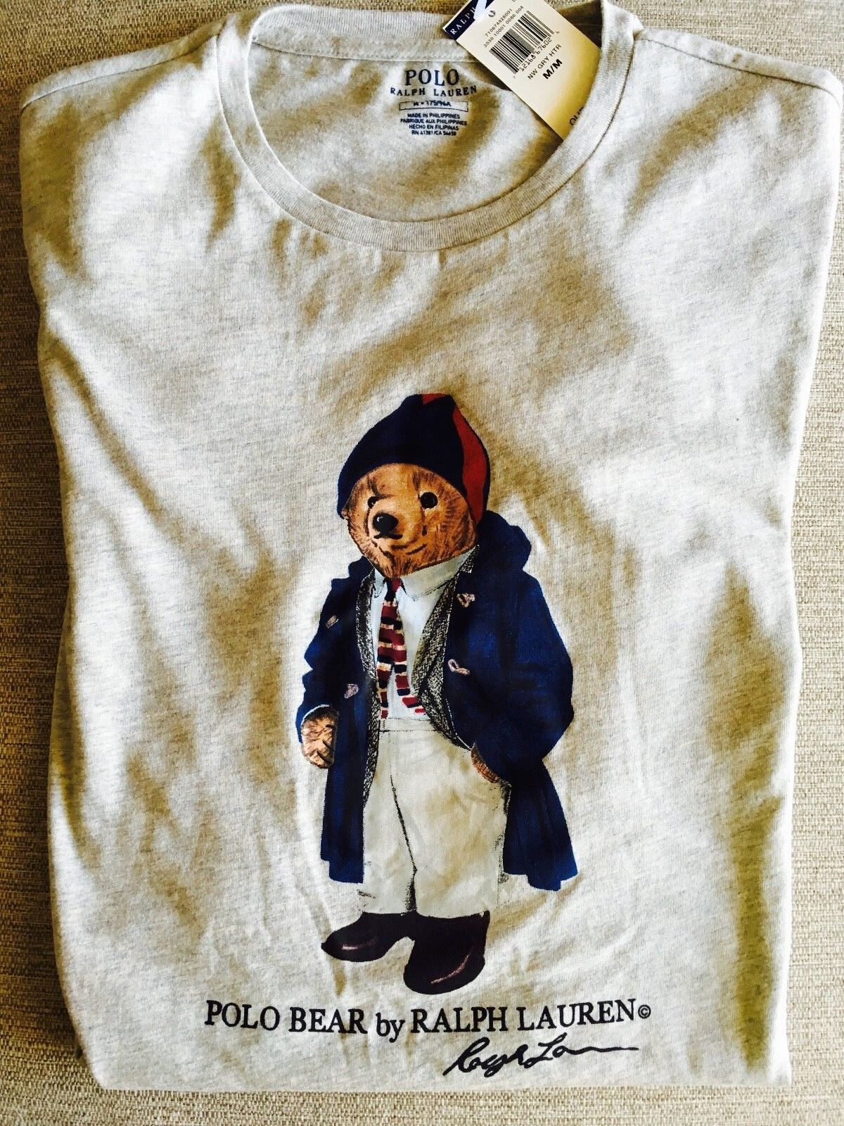 NWT RALPH LAUREN POLO BEAR T SHIRT PREPPY CARCOAT TIE  SHORT SLEEVE grau XL