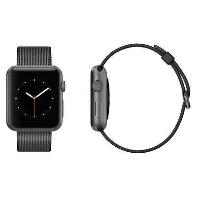 Apple Watch Series 2 42mm Space Grey Aluminium Case Black Woven Nylon Band VGC