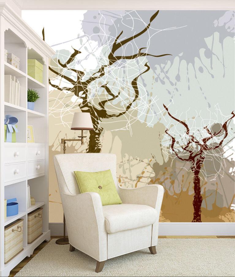 3D Doodle Baum Muster 8004 Tapete Wandgemälde Tapeten Bild Familie DE Lemon   Erste Klasse in seiner Klasse    Exquisite (mittlere) Verarbeitung   
