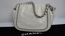 Chanel White Patent Leather  Chain Flap Bag