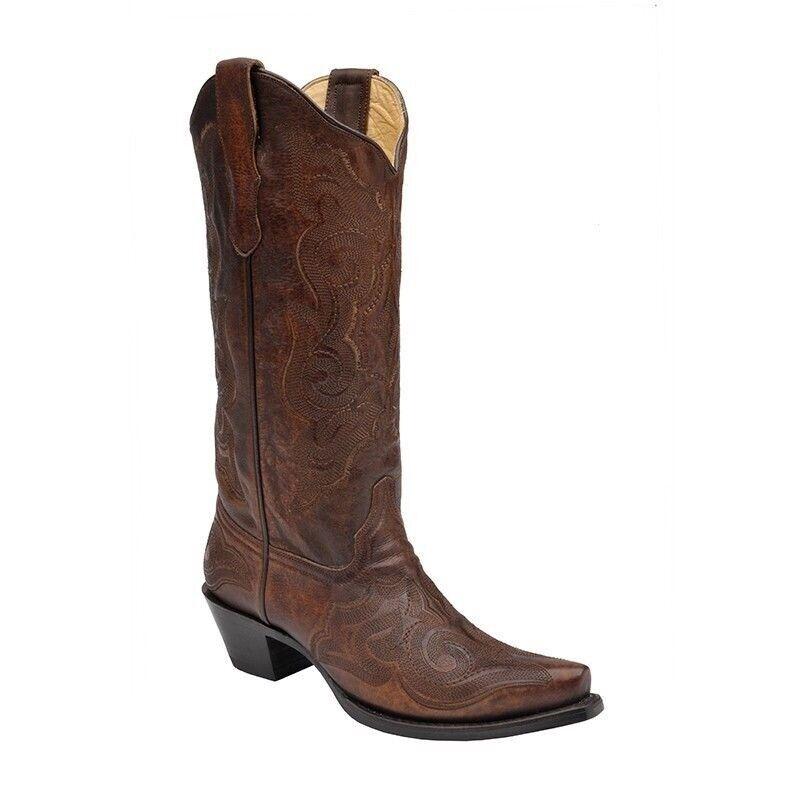 negozio outlet Corral Ladies 13  Snip Toe Leather Cowboy Western stivali stivali stivali Burnished Marrone E1005  alta qualità generale
