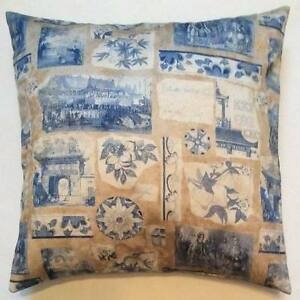 Throw Pillow Cover And Insert : Throw Pillow Sham/Cover for 18x18 Insert Blue/Tan/Beige Toile Historical