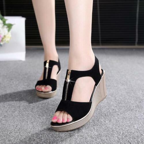 Women Summer Casual Zip Faux Suede Sandals Ladies Peep Toe Wedge Shoes Plus Size