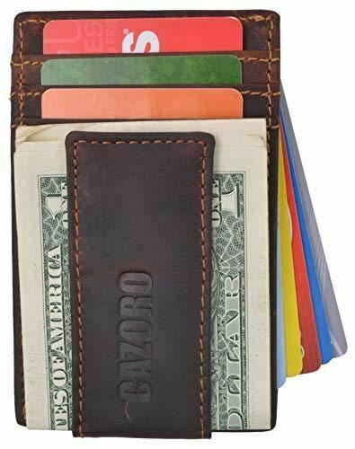 RFID Blocking Money Clip Front Pocket Vintage Leather Strong Magnetic Slim Thin