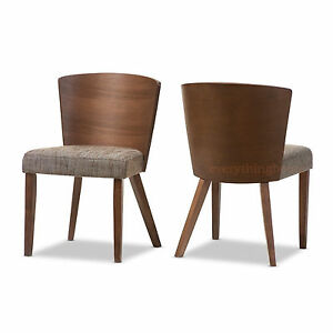 2-039-WALNUT-039-TONE-BROWN-DINING-CHAIRS-MID-CENTURY-WOOD-CONVEX-BACK-BROWN-FABRIC