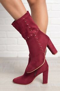 53c716be189b New Womens Vegan Suede Gold Studded Tall Ankle Booties Boot Chunky ...