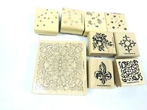 Rubber-Stamps-Lot-of-9-Patterns-Floral-Paisley-Scout-Fruit-Stampin-Up-Wood-Mount