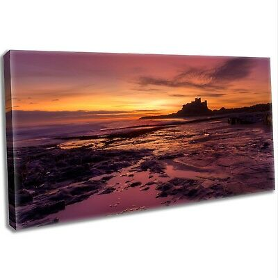 Northumberland Coast Sunrise Panoramic Canvas Print Framed Wall Art Picture
