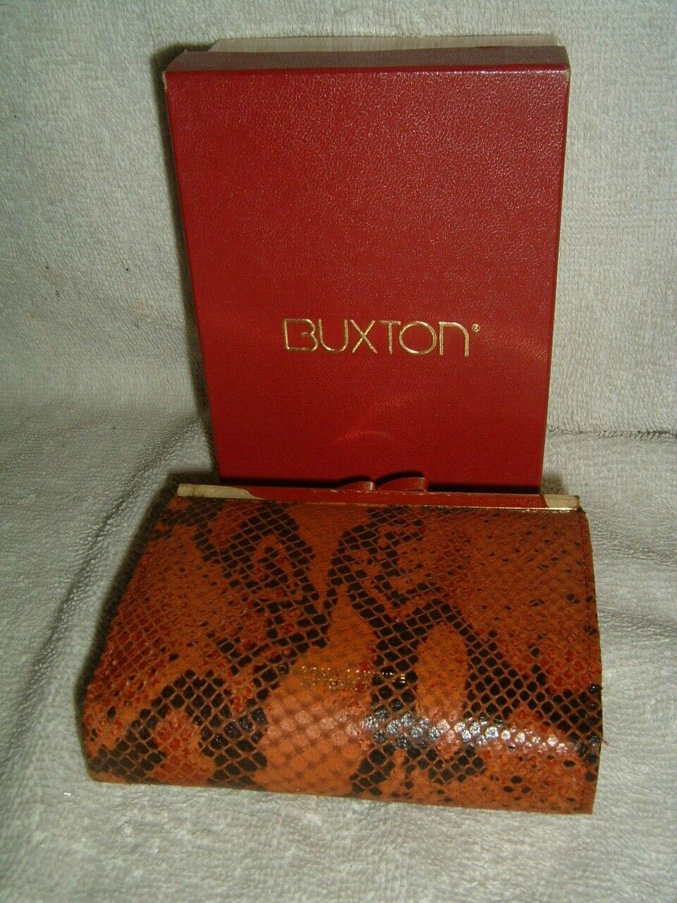 Buxton Cowhide Double Cardex Womens Wallet Brown & Black Animal Print New W/ Box