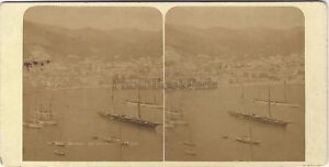 Monaco La Condamine Monte-Carlo Stereo Foto Vintage Albumina Ca 1880