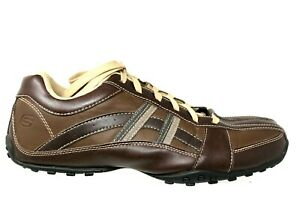 Details about SKECHERS CITYWALK MALTON Brown Leather Bicycle Toe Casual Shoes Mens Size 12