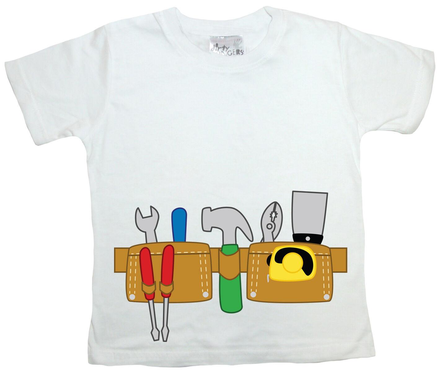 Dirty Fingers Boy T-Shirt Builder DIY Tool Belt tool Kit Hammer Tools