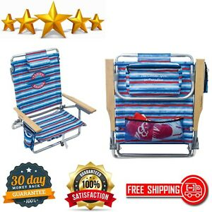 5-Position Classic Lay Flat Folding Backpack Beach Chair White /& Blue Stripe