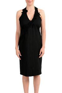 Exte Damen Grau Wolle Gestreift Neckholder Kleid Us L It 44 Ebay