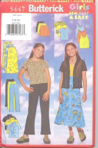 8 10  Sewing Pattern Butterick 5447 Girls Shirt,Top,Skirt,Pants 7