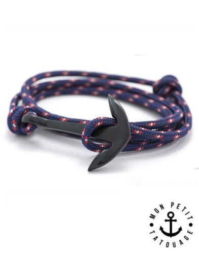 Bracelet mixte homme femme ancre marine Noir Mat Bleu Hope 2017 encre cordon