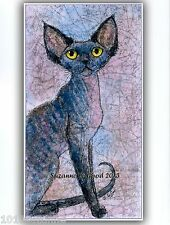 Devon Rex cat art print limited edition from original painting Suzanne Le Good