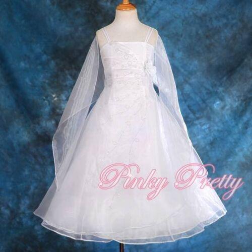 White Organza Dress /& Shawl Wedding Flower Girl Bridesmaid Party Age 8y-9y FG129