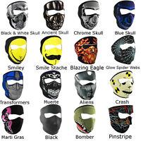 Neoprene Ski Masks - Full Face Reversible Snowboard Biker Mask Skull Fire More