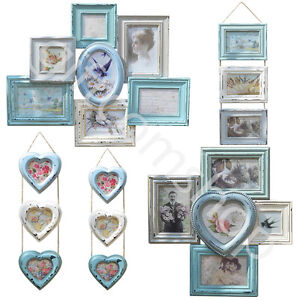 vintage style multi photo wall hanging wood picture frames in shabby chic design ebay. Black Bedroom Furniture Sets. Home Design Ideas