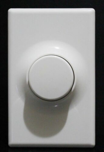 Push ON//OFF Switch Rotary Light Dimmer with Wall Plate LED Compatible White