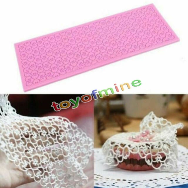Lace Silicone Mold Mould Sugar Craft Fondant Mat Decorating Baking Tool Pink New