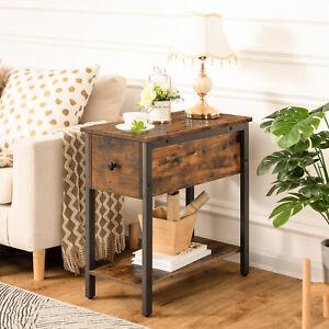 Beistelltisch Nachttisch mit Stauraum Stabile Platzsparend Dunkelbraun Vintage