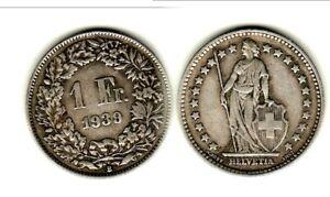 Suisse 1 Franc Argent 1939 Historique ! à Distribuer Partout Dans Le Monde