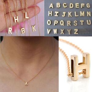 Moda-para-Mujer-de-Oro-cromado-con-Dije-en-Inicial-letra-del-alfabeto-A-Z-Colgante-Collar-de-cadena