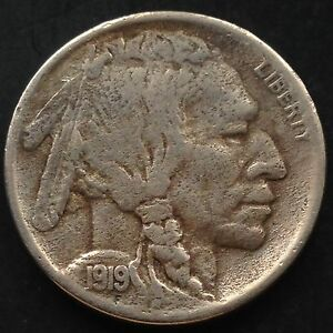 USA-1919-S-Buffalo-Nickel-San-Francisco-5-Cent-Selten-RARE-3814