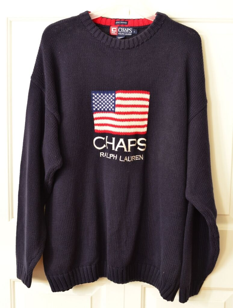 VTG Chaps Ralph Lauren Men's L Cotton Flag Sweater Spelled Out Embroidered bluee
