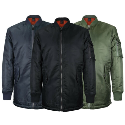 MJC USA Men/'s Streetwear Long Oversized Parka Curved Hem Bomber Jacket