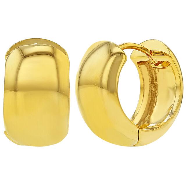 18k Gold Plated Clic Plain Wide Huggie Small Hoop Earrings For Women 0 70