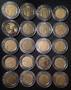 Mexico Lot of 20 Coins 1986 Mexico 1 Peso Un Peso Roll UNC World Coin
