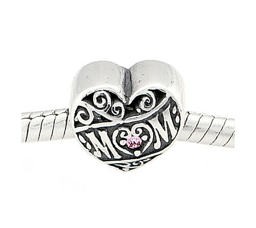 STERLING SILVER ZABLE MOM with PINK CZ STONE EUROPEAN BEAD