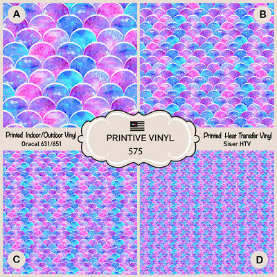 Mermaid Scales Patterned Iron on Vinyl Adhesive Vinyl 581 Printed Siser HTV