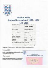 GORDON Milne Inghilterra International 1963-1964 mano originale firmato TAGLIO / CARD