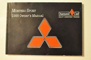 1998 mitsubishi montero sport owners manual ebay rh ebay com 98 Mitsubishi Montero Sport Parts Montero Sport Repair Manual PDF