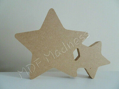 WOODEN CRAFT SHAPE 18MM FREE STANDING MDF STAR WITH STAR INSERT