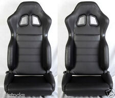 NEW 2 BLACK PVC LEATHER RACING SEATS + SLIDER RECLINABLE FOR DODGE