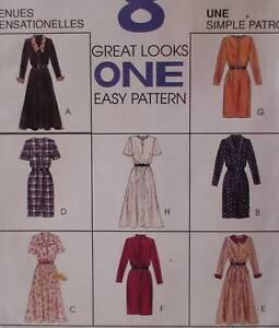 7787-Vintage-McCalls-SEWING-Pattern-Misses-EASY-Fall-Dress-8-Looks-UNCUT-FF-OOP