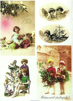 A/4 Soft Decoupage Paper Scrapbook Sheet Vintage Christmas Eve