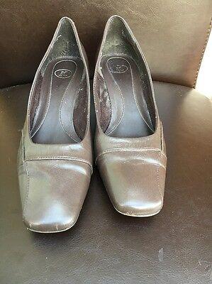 K Cuero Marrón Tribunal Zapatos 2 Talla 5 < T6508
