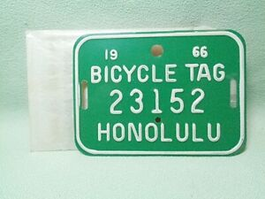 Honolulu HI 1966 Bicycle Tag License Plate Excellent Condition 23152