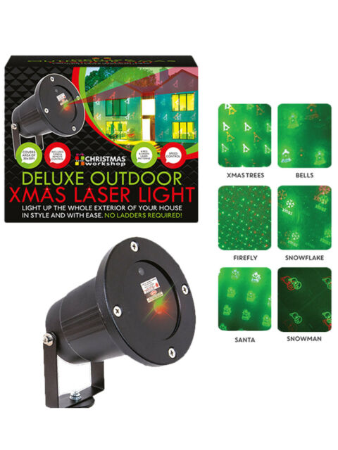 quality design f7c9a 06a2a Deluxe 40ft Xmas Outdoor 6 Pattern Laser Light Projector Christmas  Decoration