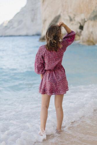 Topshop Ditsy Floral Print Smock Kaftan Tassel Tunic Dress Pink UK 6 8 10 12